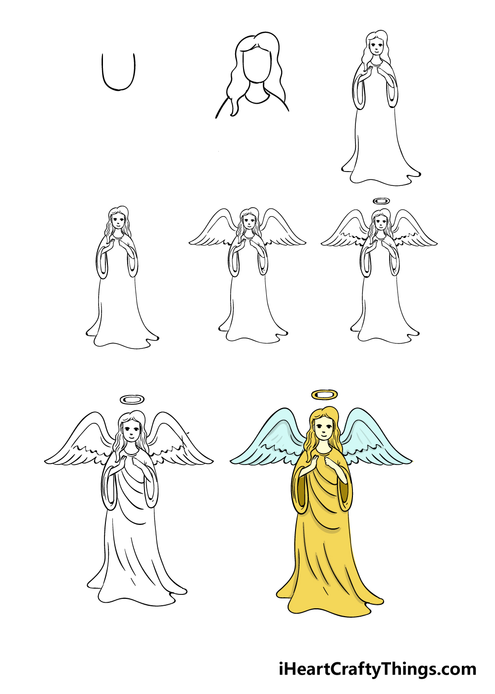 how to draw angel in 8 steps