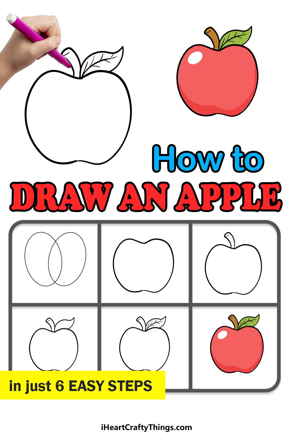 how to draw an apple in 6 easy steps