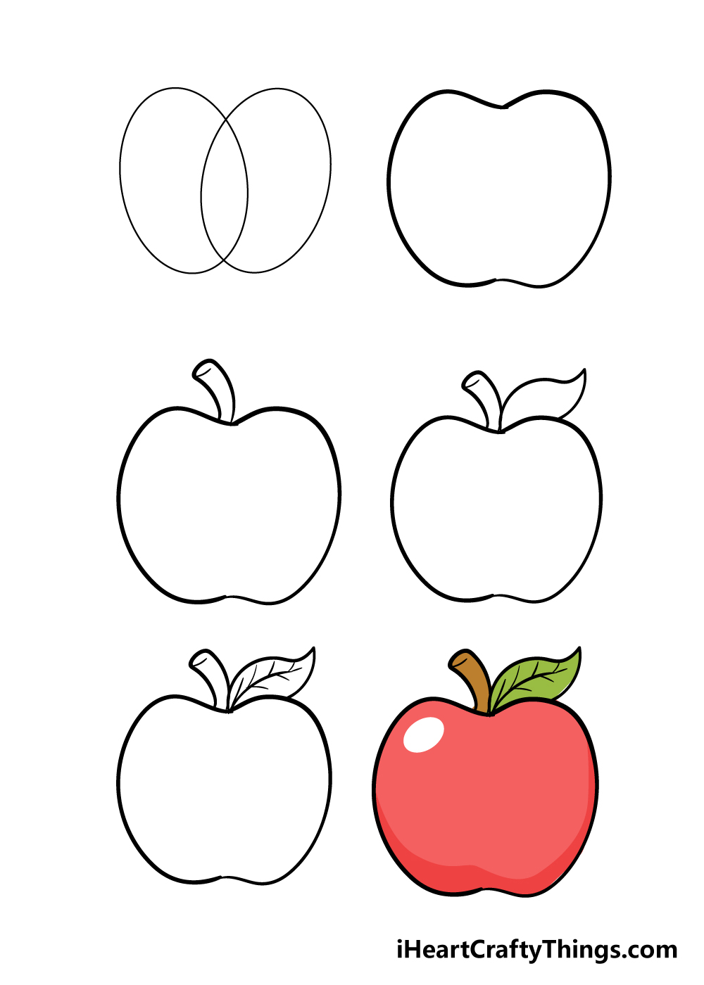 how to draw an apple in 6 steps