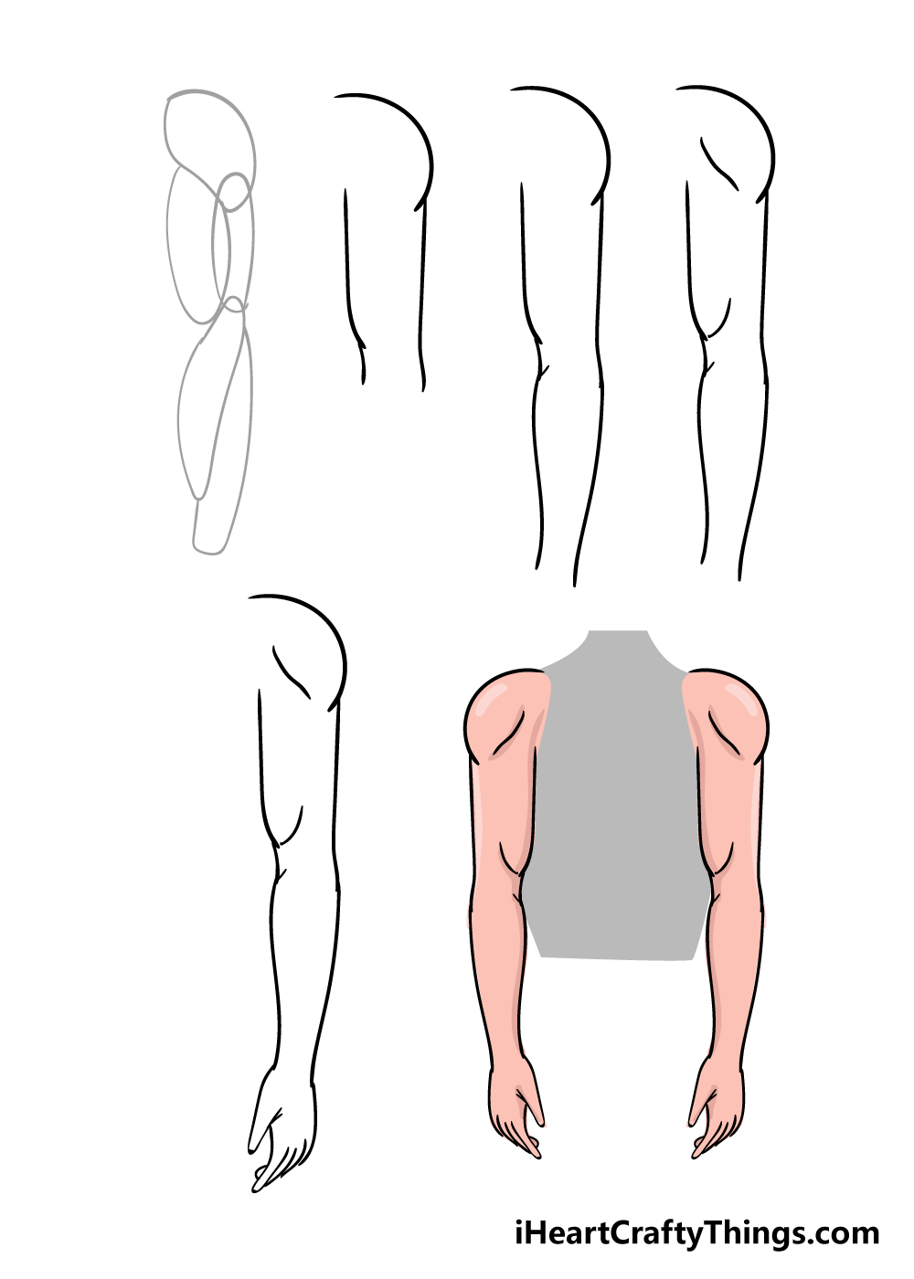 how to draw arms in 6 steps