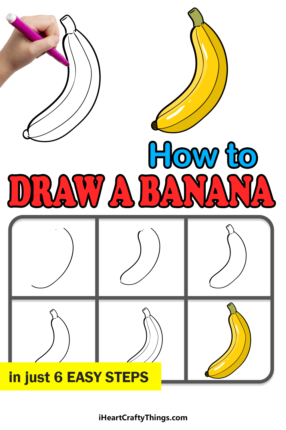 how to draw a banana in 6 easy steps