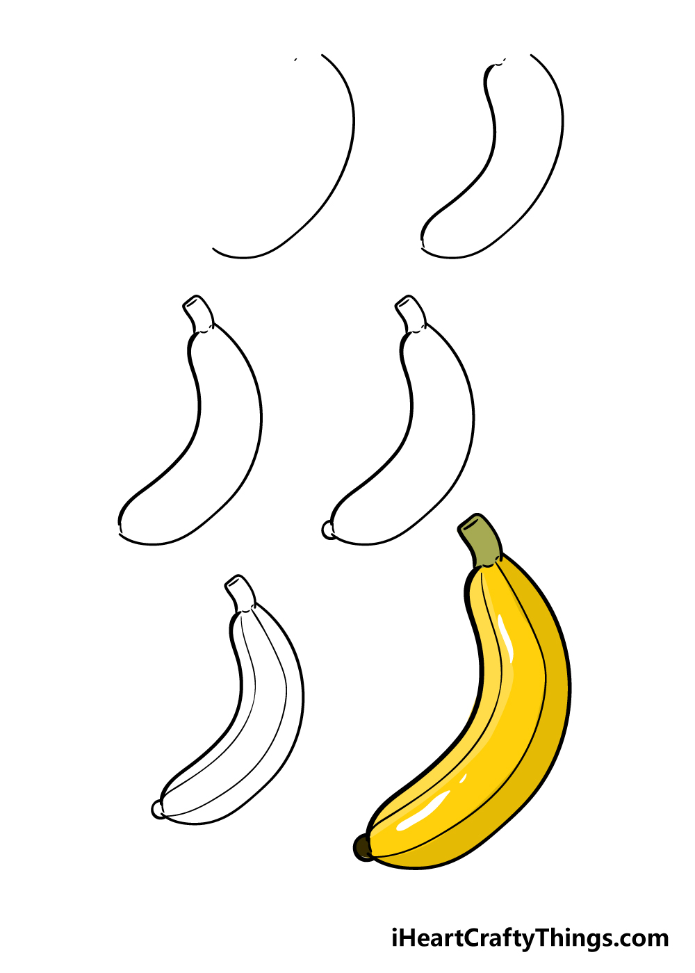 how to draw banana in 6 steps