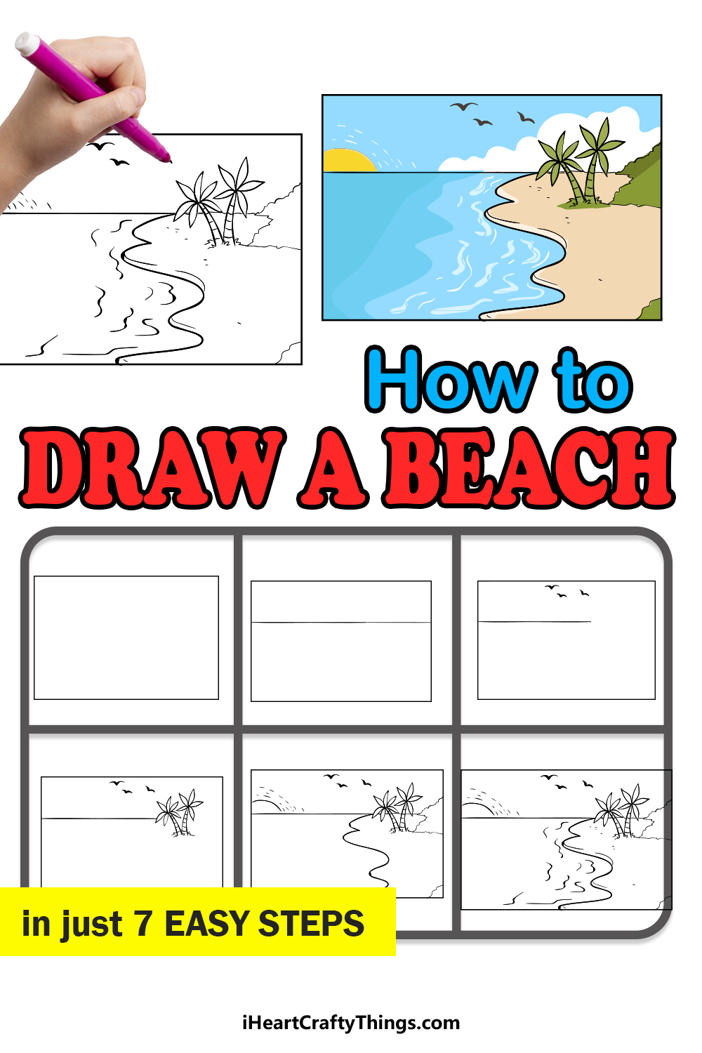 how to draw a beach in 7 easy steps