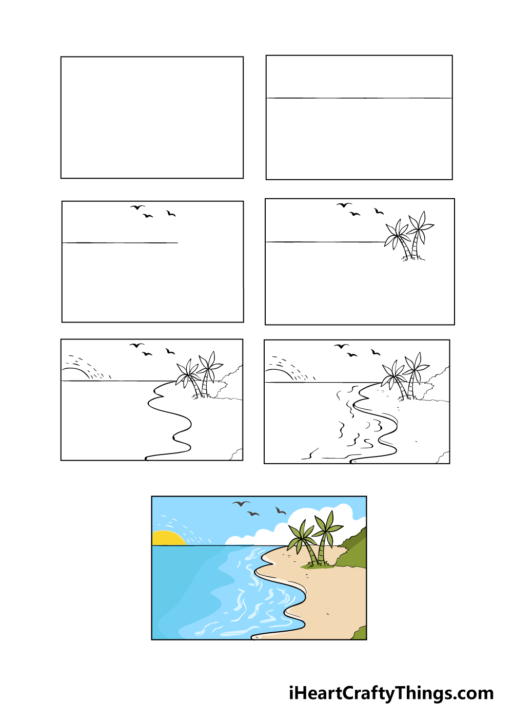 how to draw beach in 7 steps