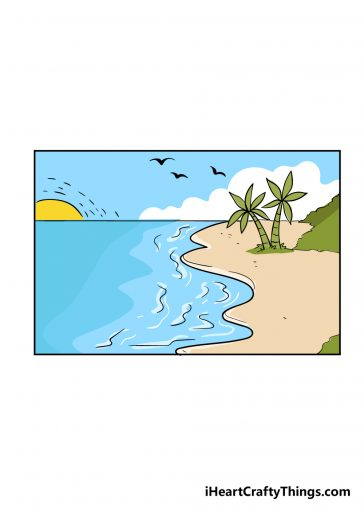 how to draw beach image