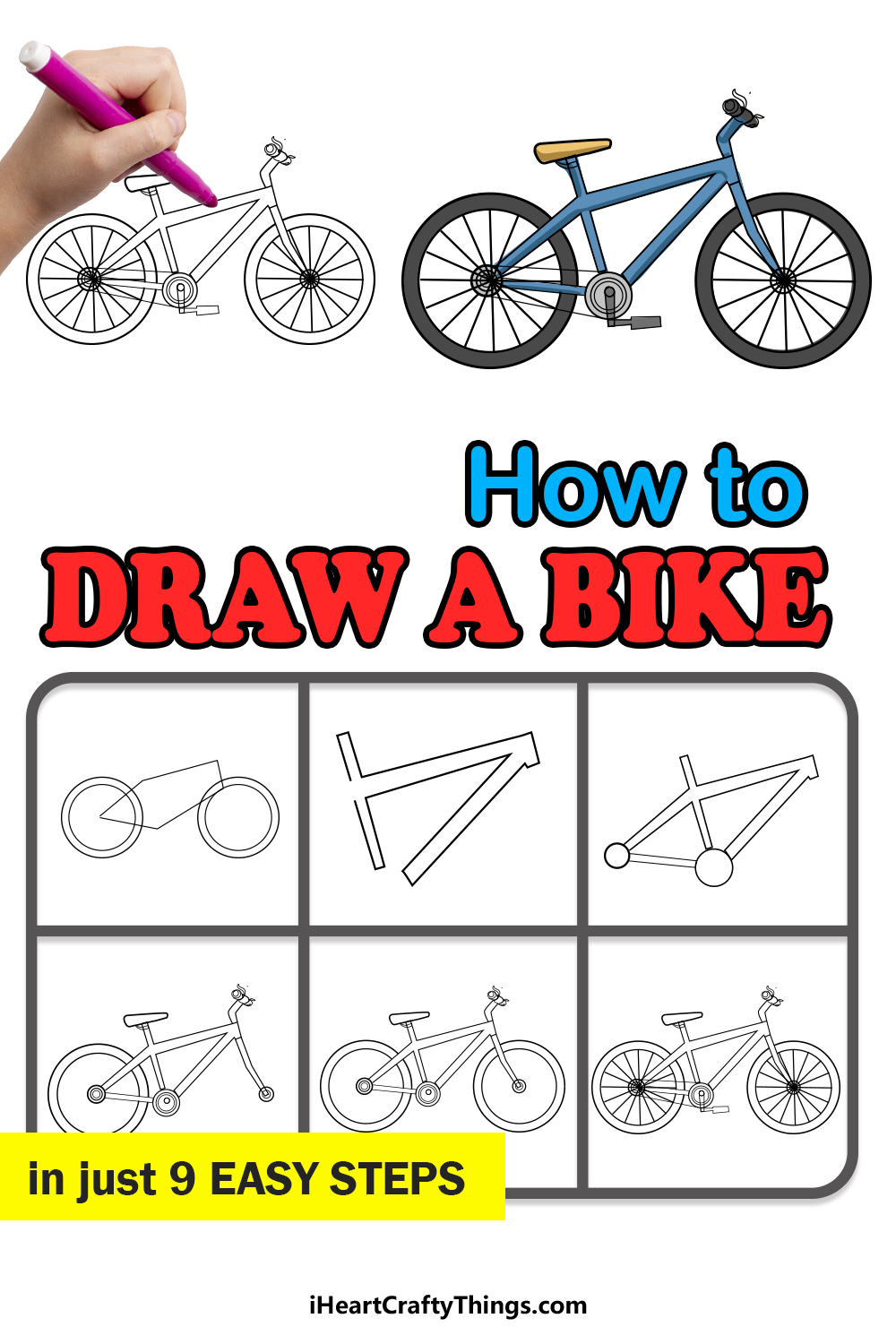 how to draw a bike in 9 easy steps