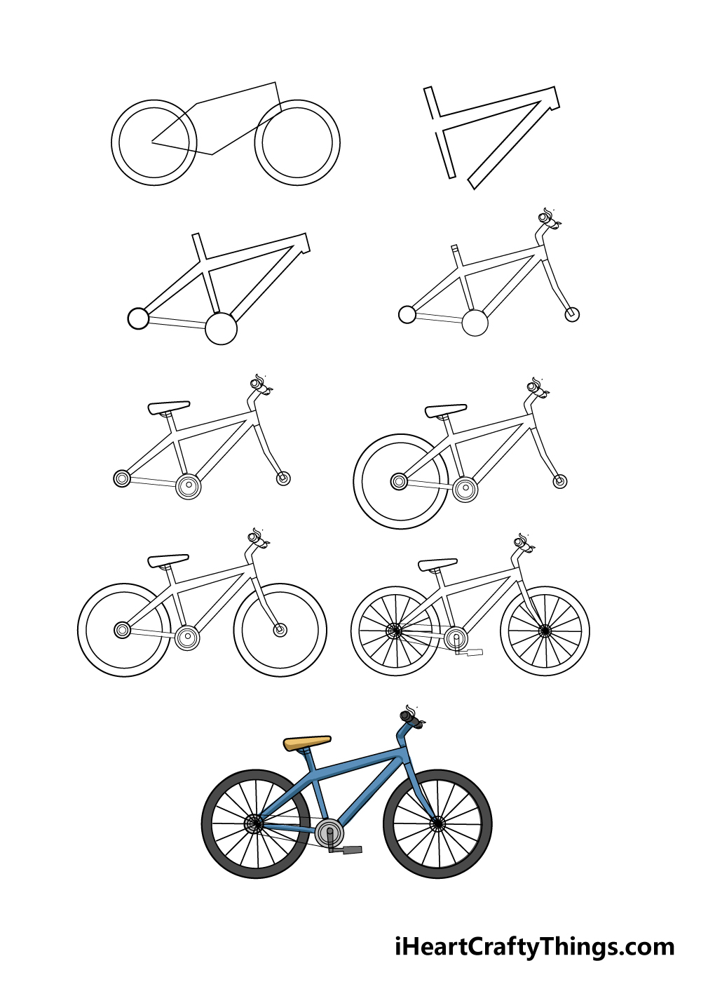 How to draw bike in 9 steps