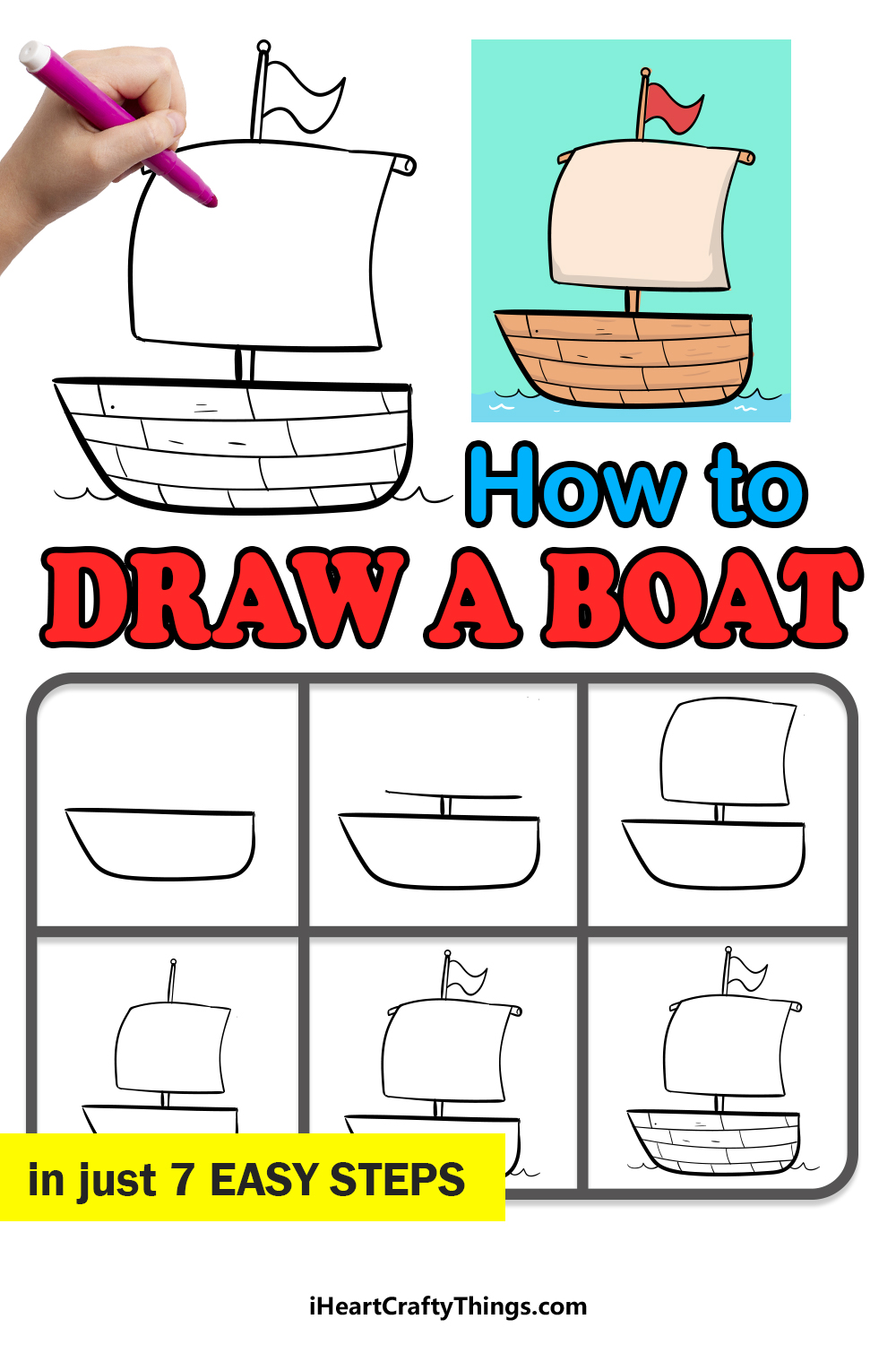 how to draw a boat in 7 easy steps
