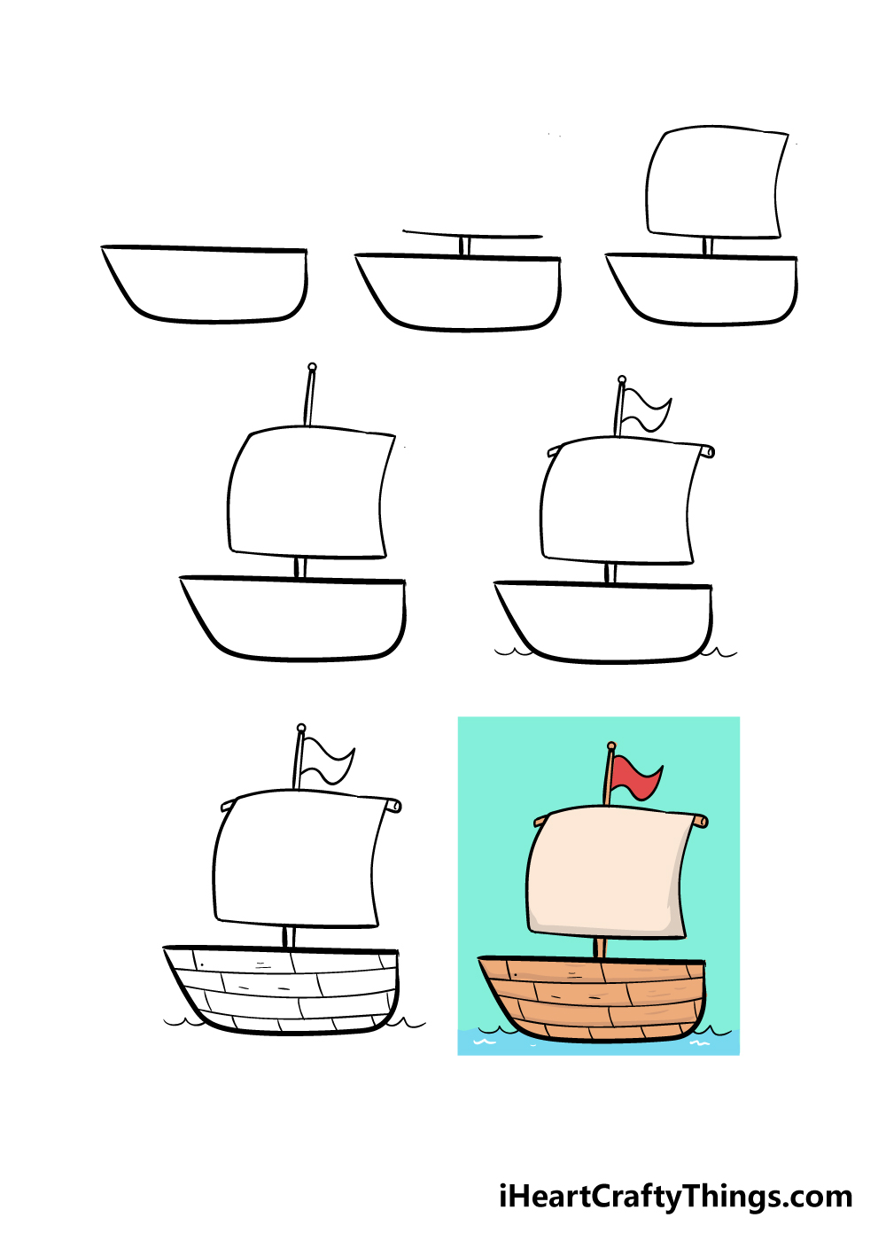 how to draw boat in 7 steps
