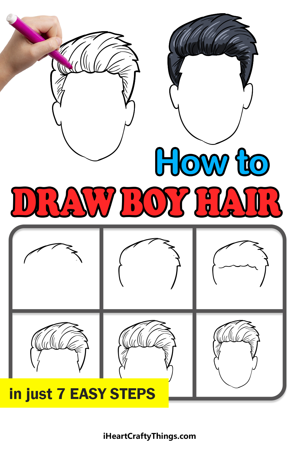 how to draw boy hair in 7 easy steps
