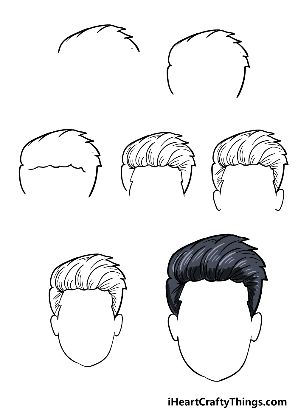 how to draw boy's hair in 6 steps