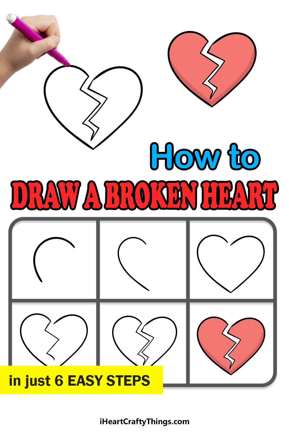 how to draw a broken heart in 6 easy steps