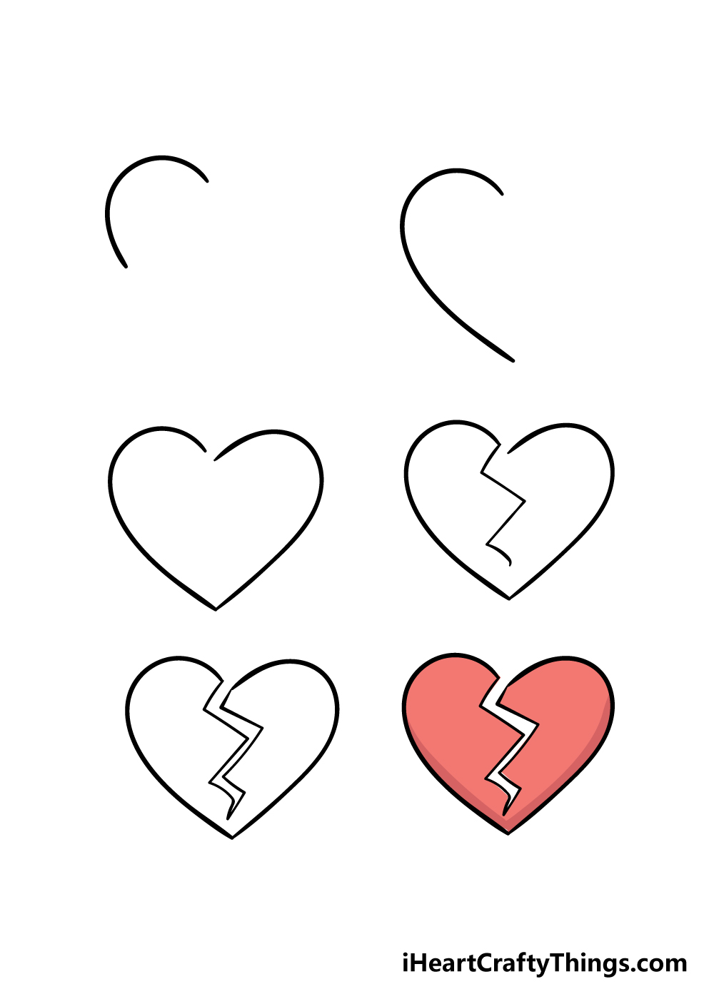 how to draw a broken heart in 6 steps