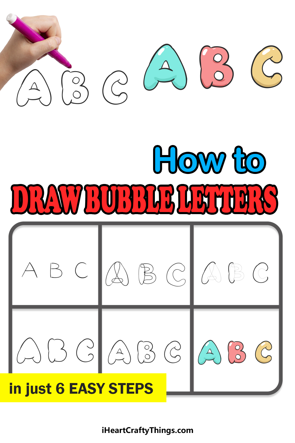how to draw bubble letters in 6 easy steps