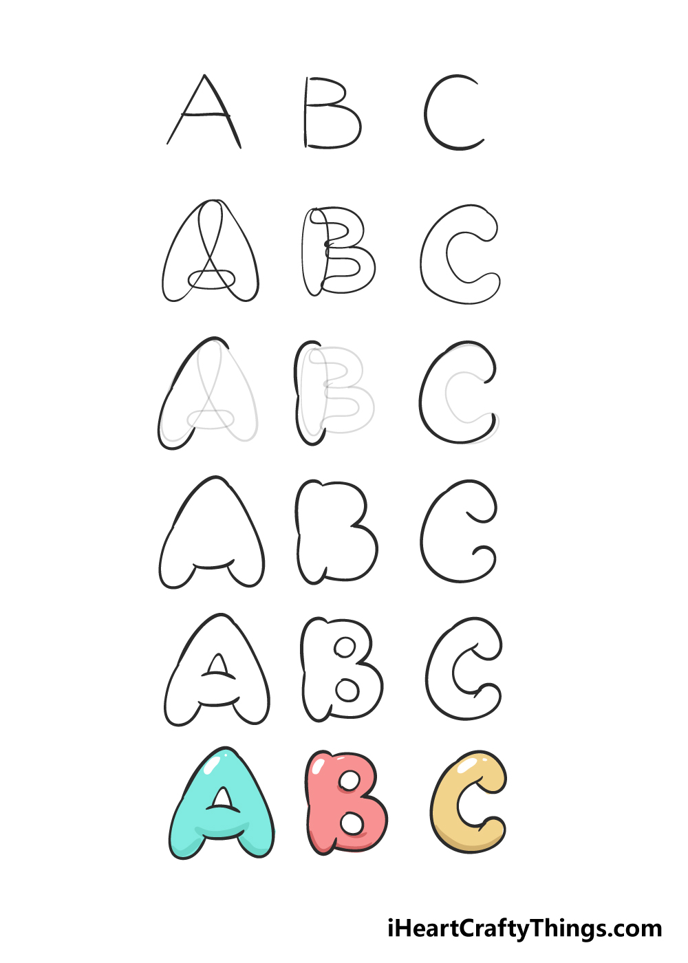how to draw bubble letters in 6 steps