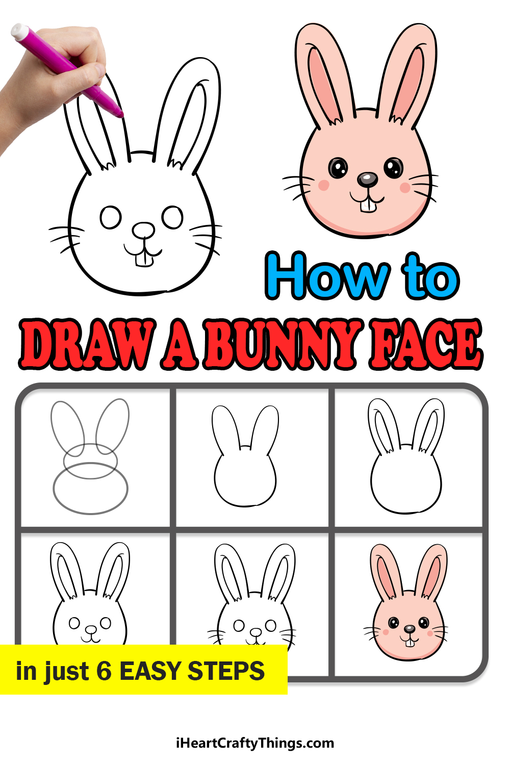 how to draw a bunny face in 6 easy steps
