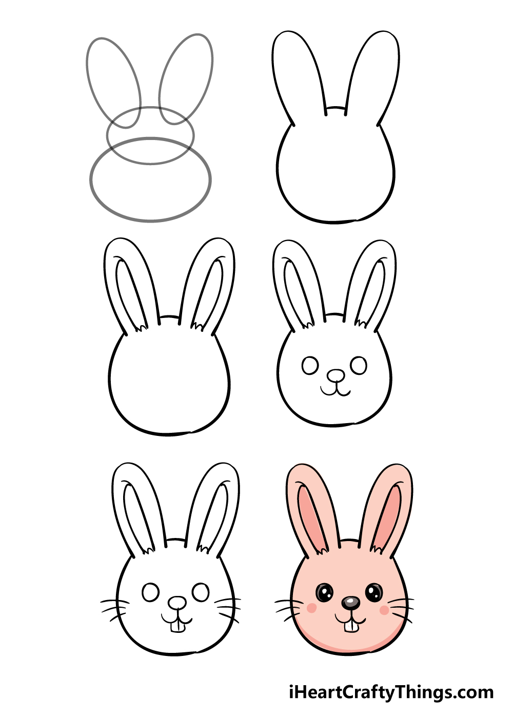 how to draw bunny face in 6 steps