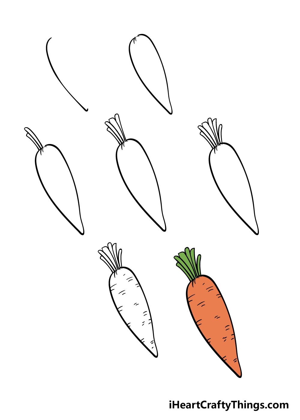 how to draw carrot in 7 steps