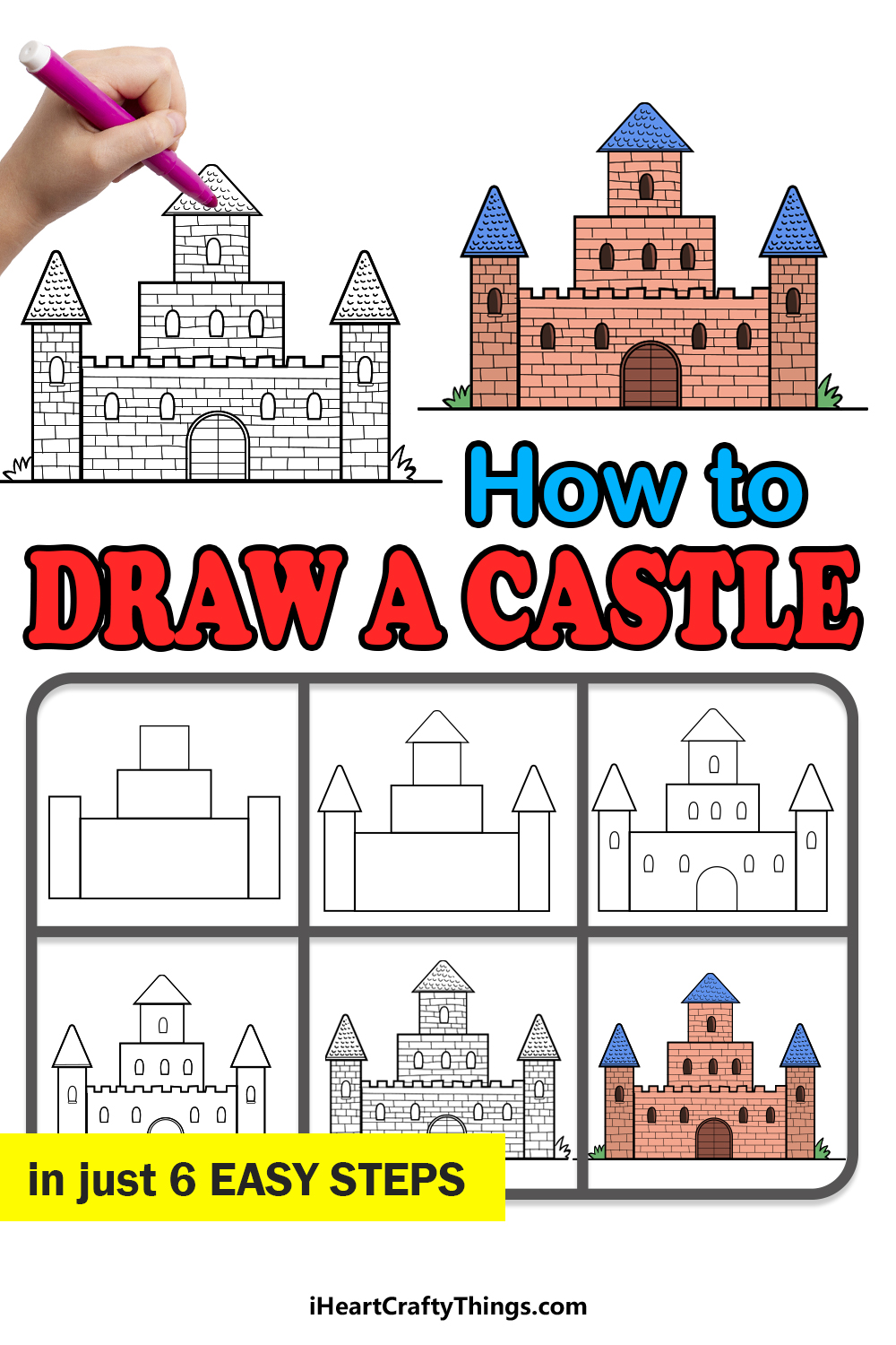 how to draw a castle in 6 easy steps