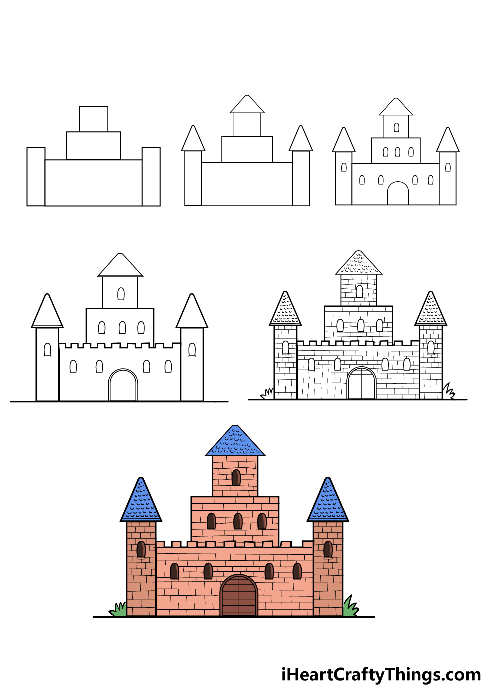 how to draw castle in 6 steps