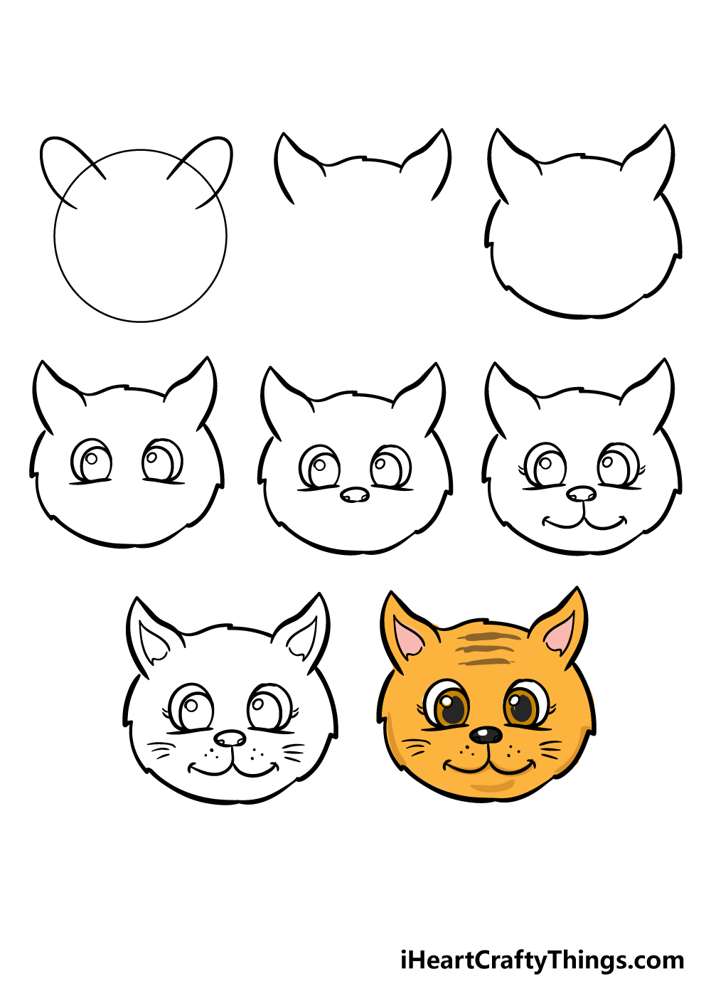how to draw cat face in 8 steps