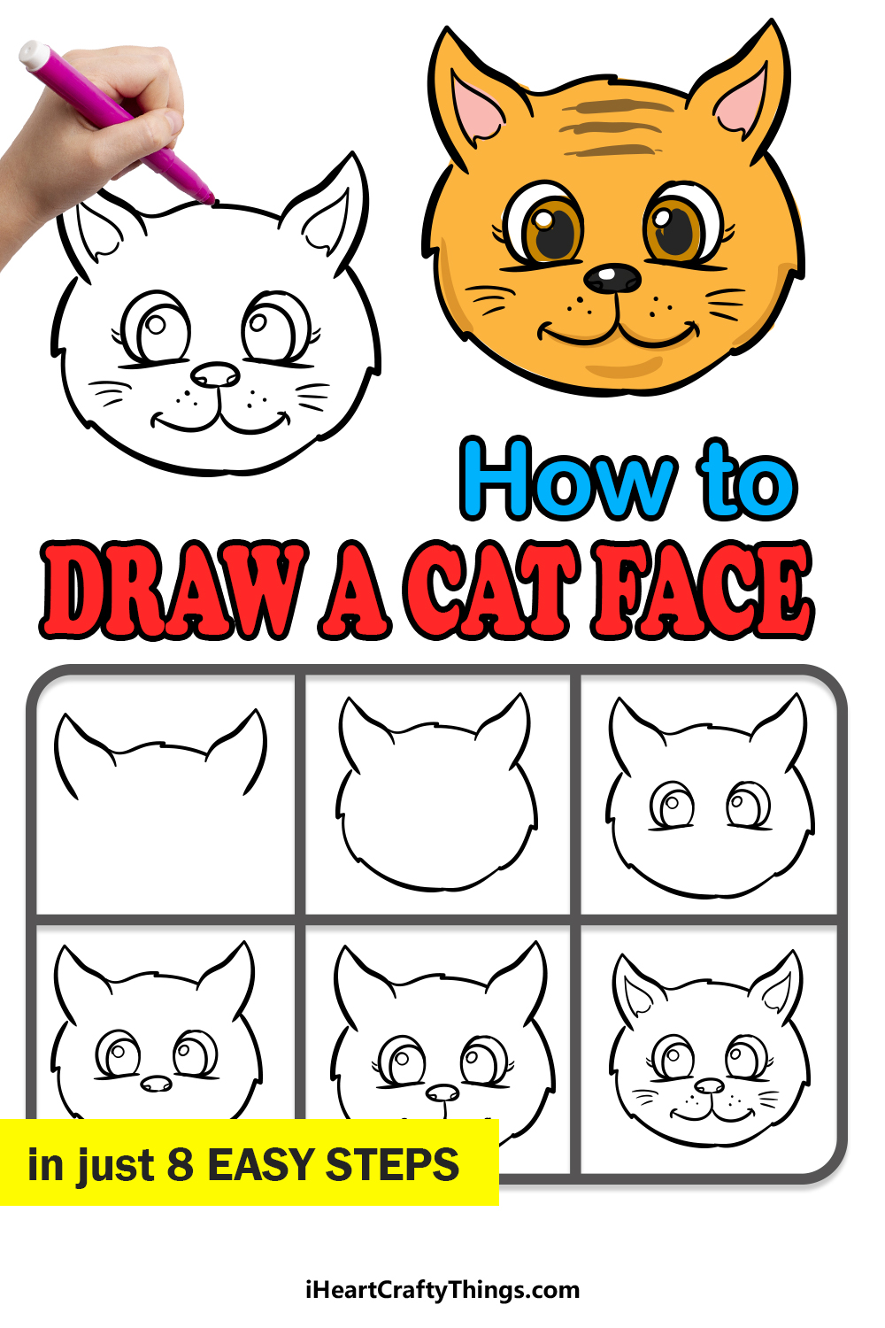 how to draw a cat face in 8 easy steps