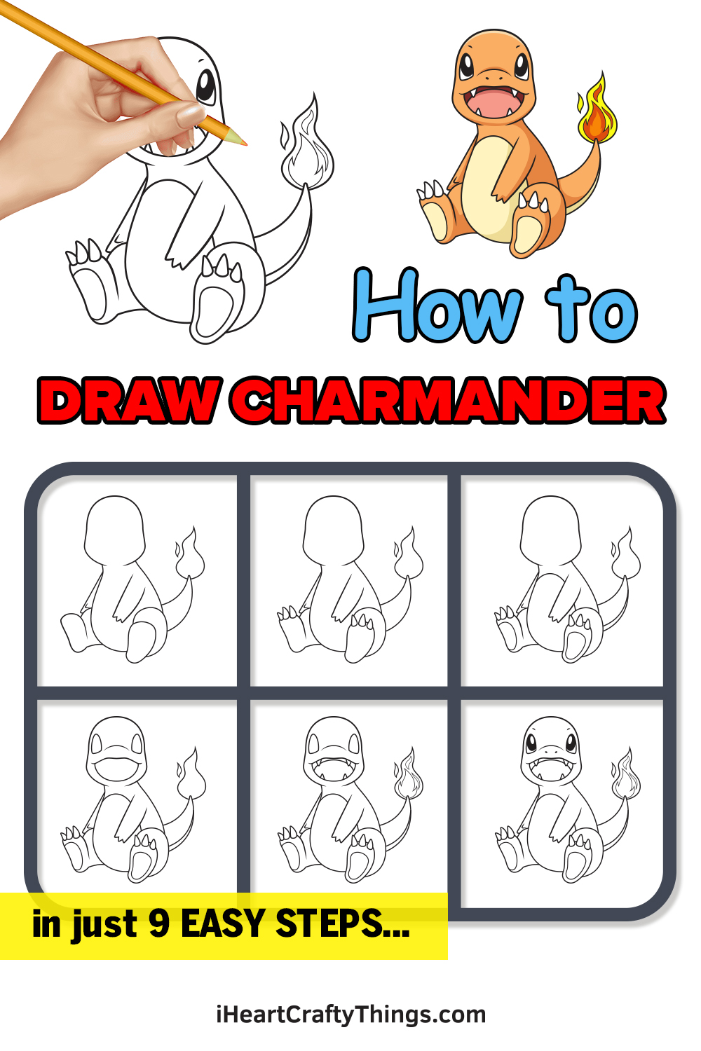 how to draw charmander in 9 easy steps