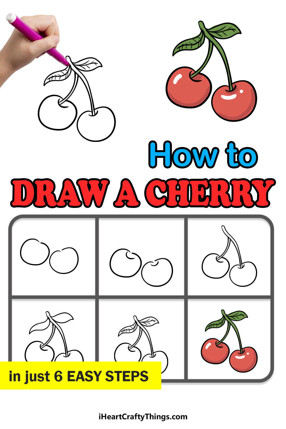 how to draw a cherry in 6 easy steps