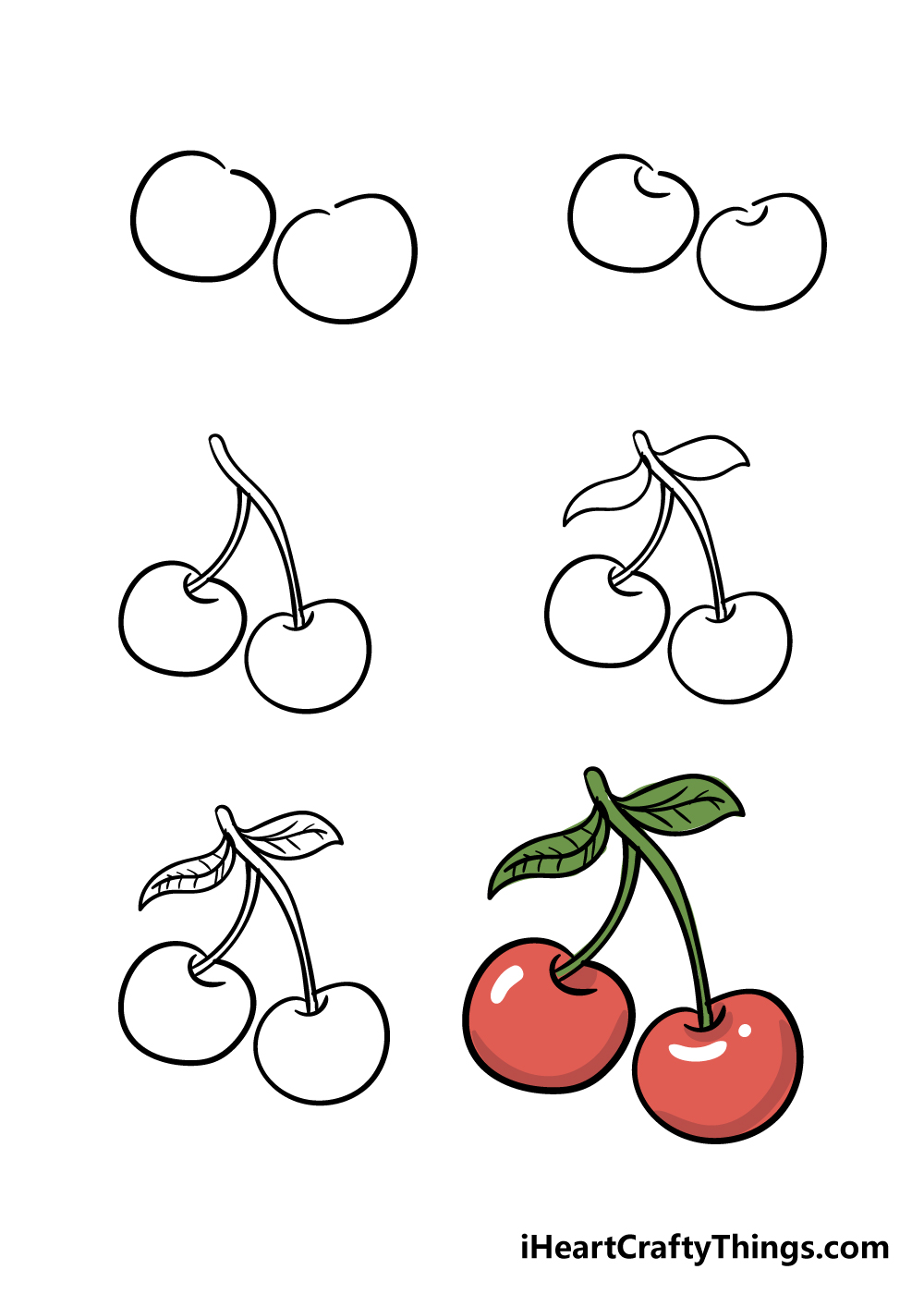 how to draw cherry in 6 steps