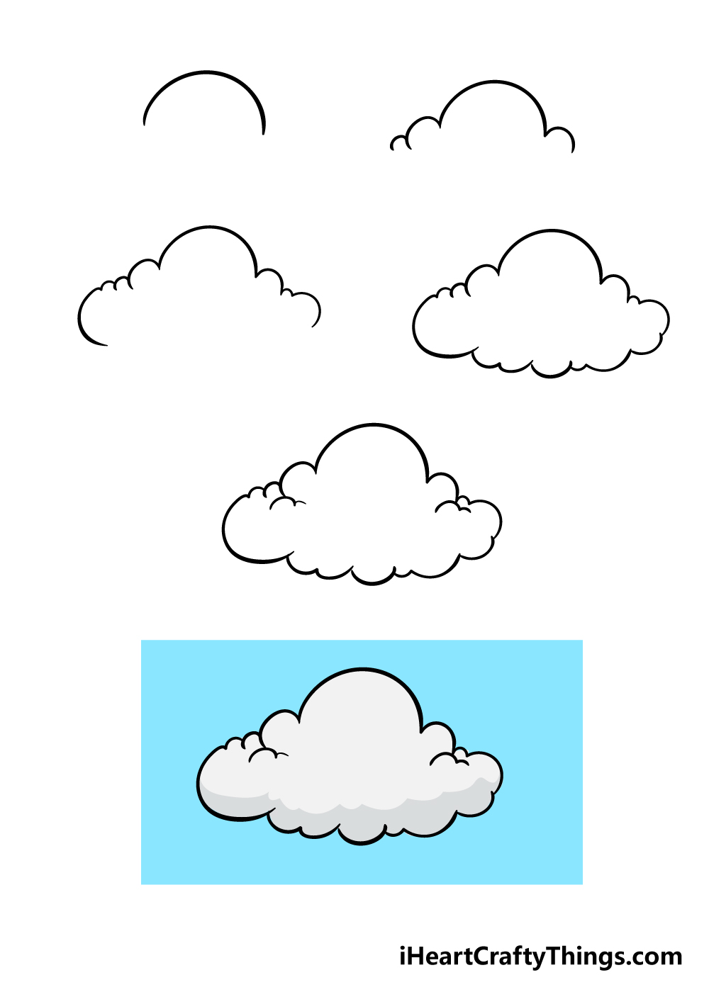 how to draw cloud in 6 steps