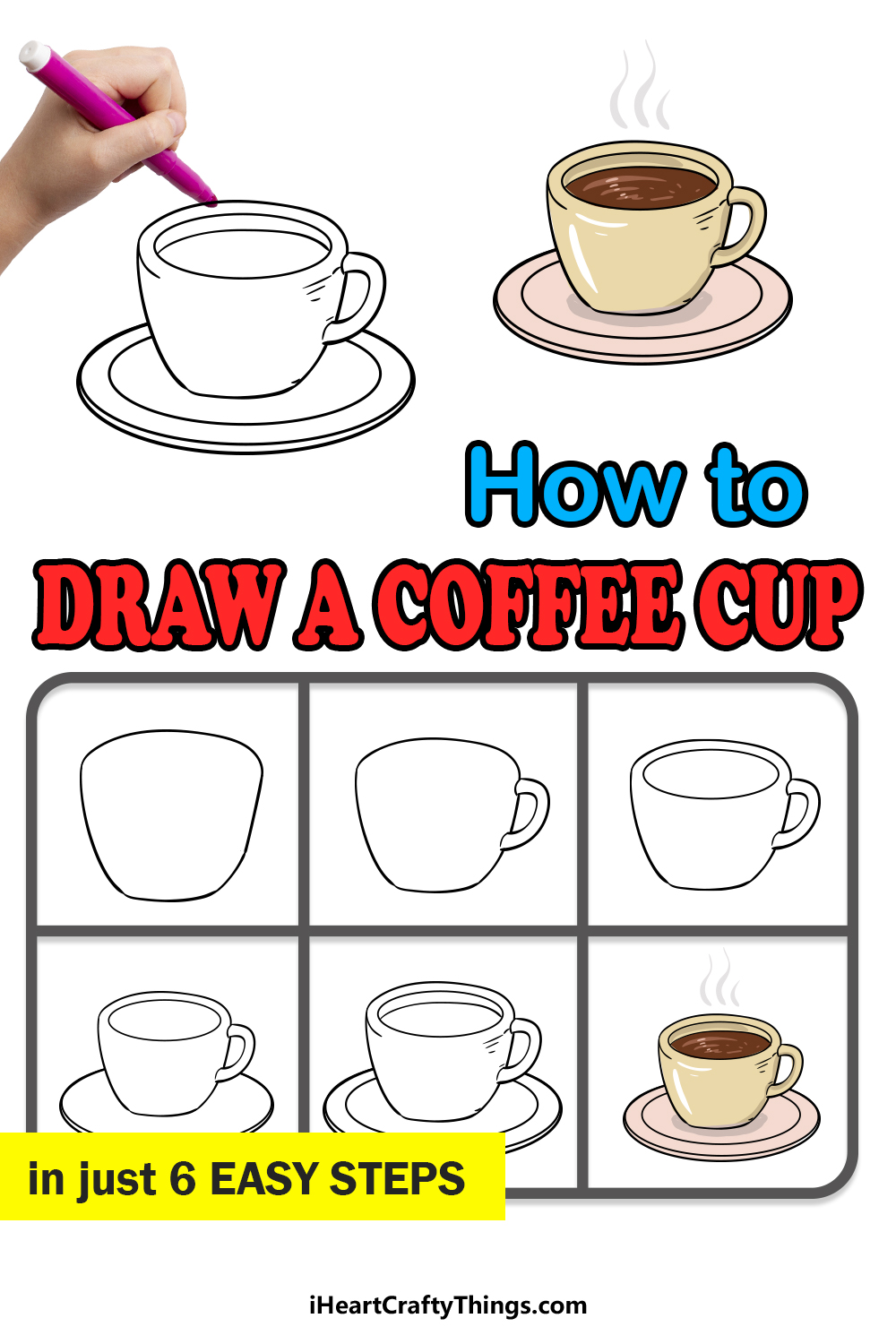 how to draw a coffee cup in 6 easy steps