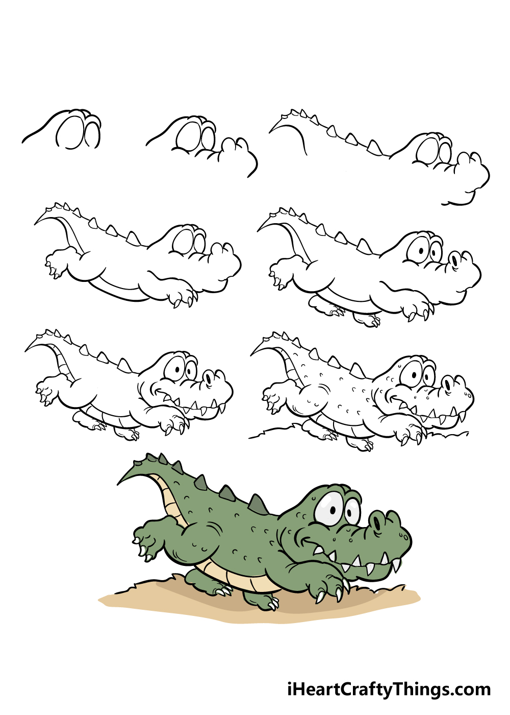 how to draw crocodile in 8 steps