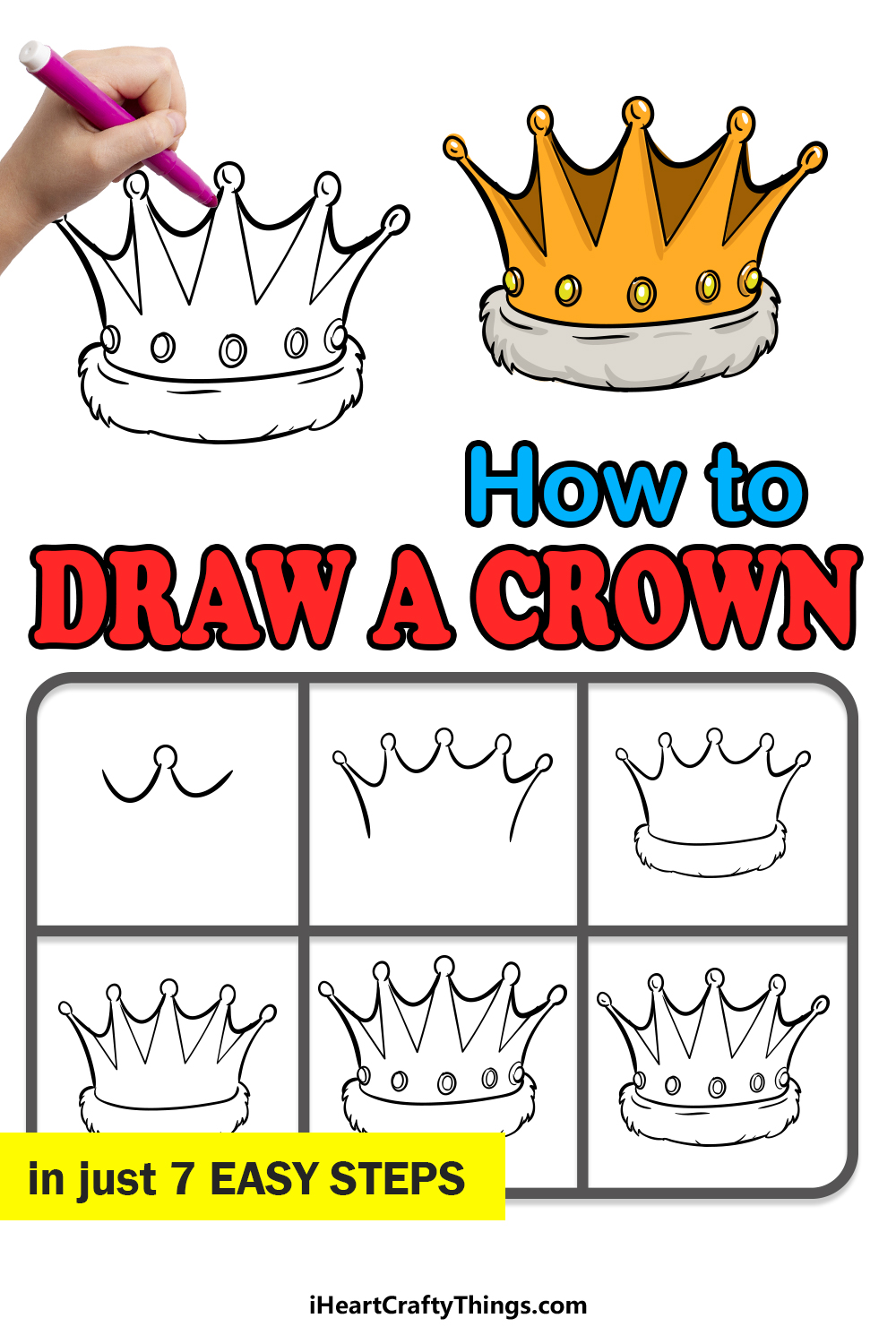 how to draw a crown in 7 easy steps