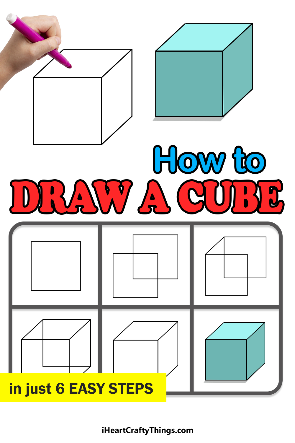 how to draw a cube in 6 easy steps