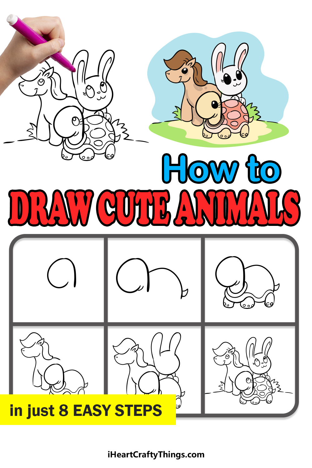 how to draw cute animals in 8 easy steps