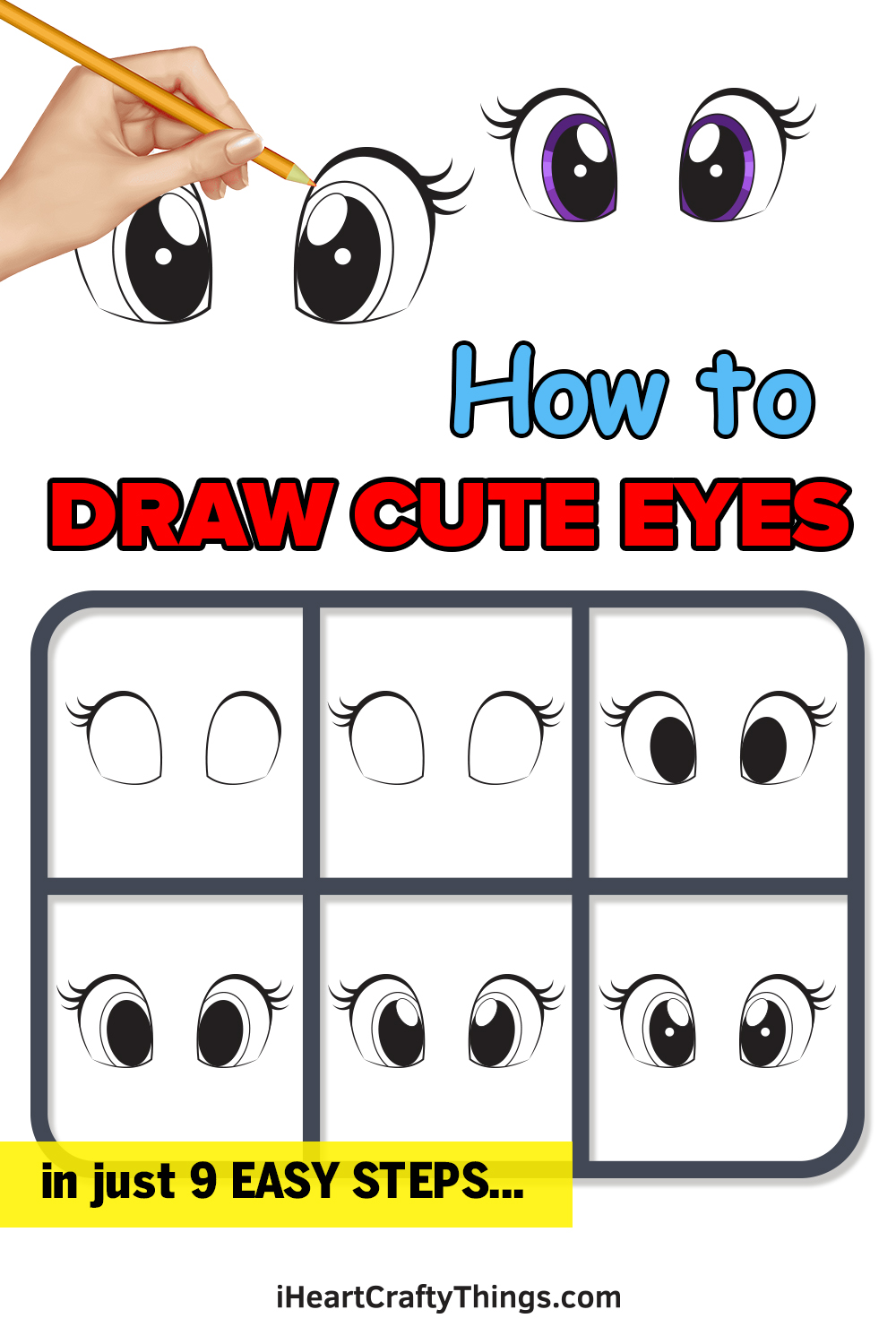 how to draw cute eyes in 9 easy steps