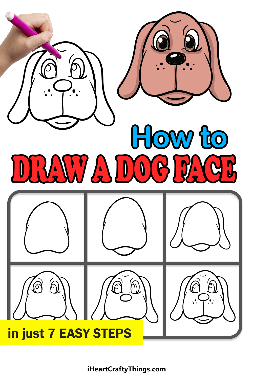how to draw a dog face in 7 easy steps