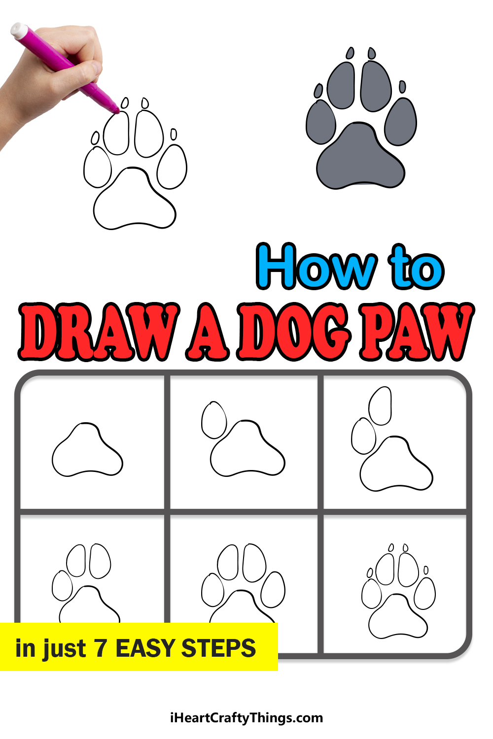 how to draw a dog paw in 7 easy steps