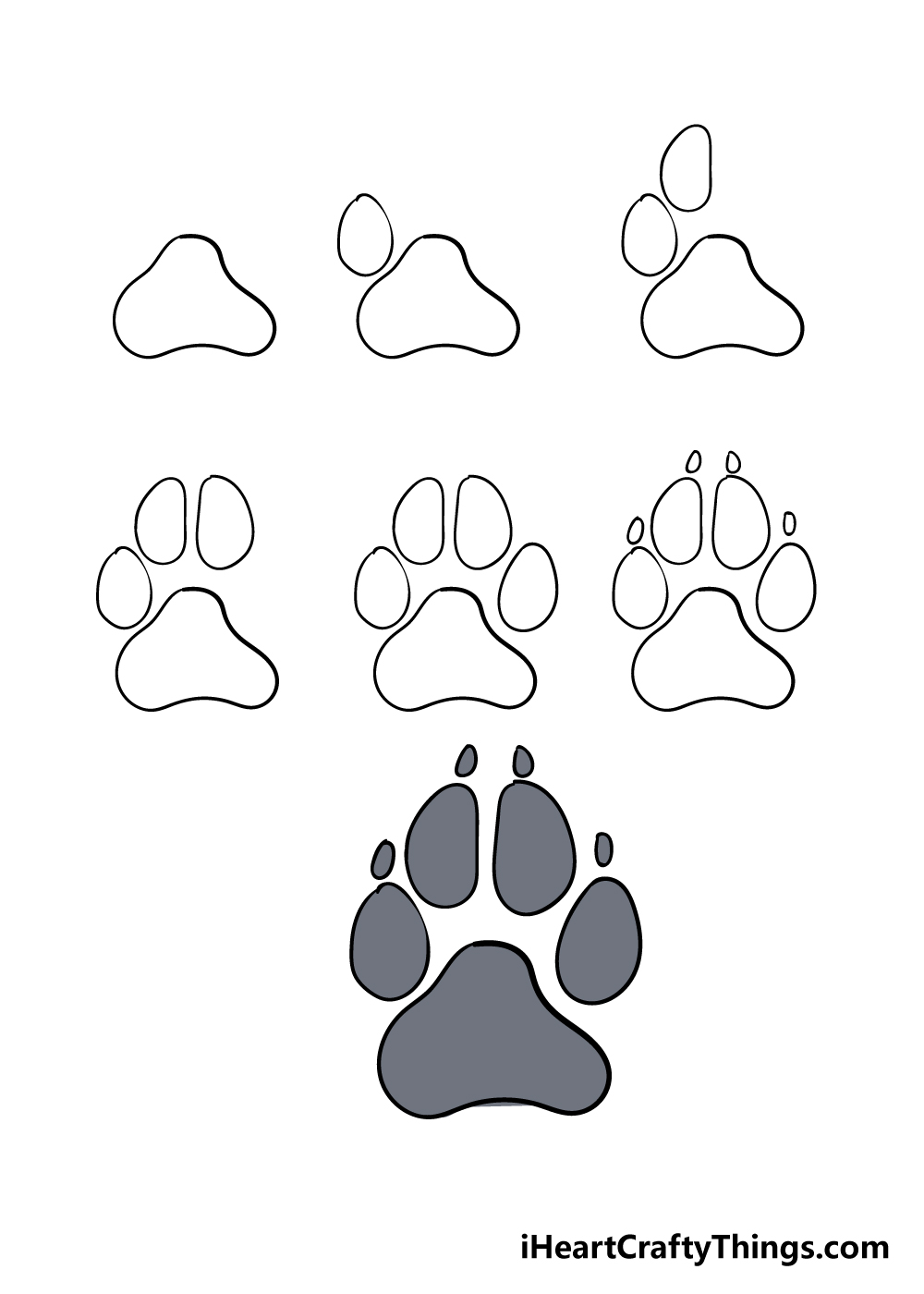 how to draw dog paw in 7 steps