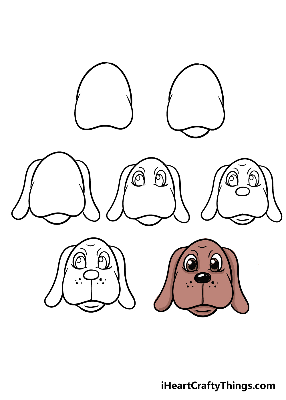 how to draw dog face in 7 steps