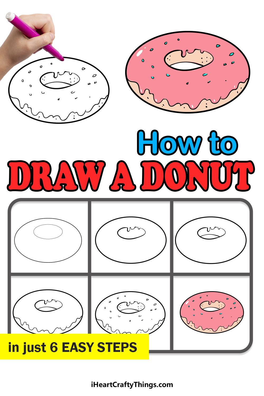 how to draw a donut in 6 easy steps