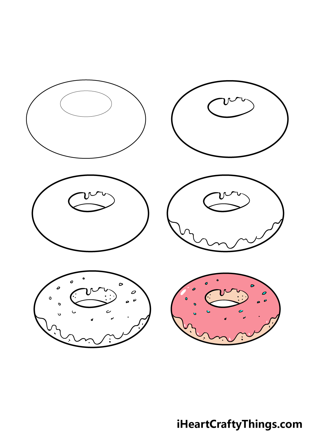 how to draw donut in 6 steps
