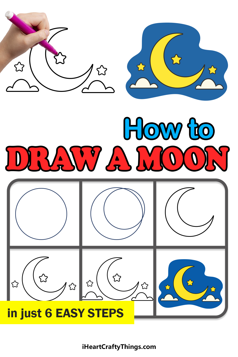 how to draw a moon in 6 easy steps