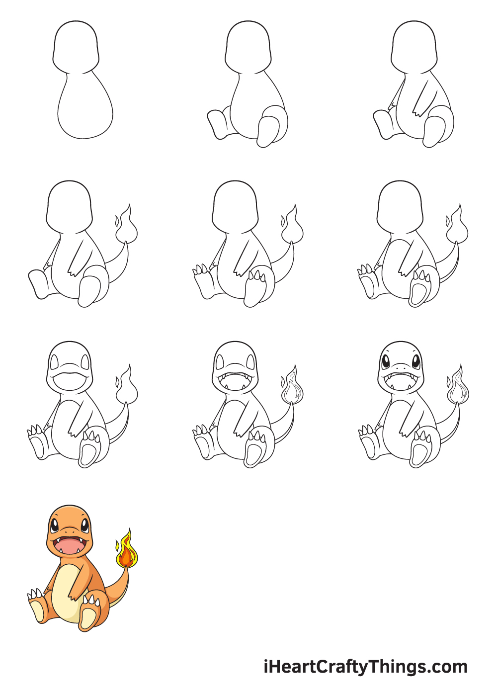 how to draw charmander in 9 steps