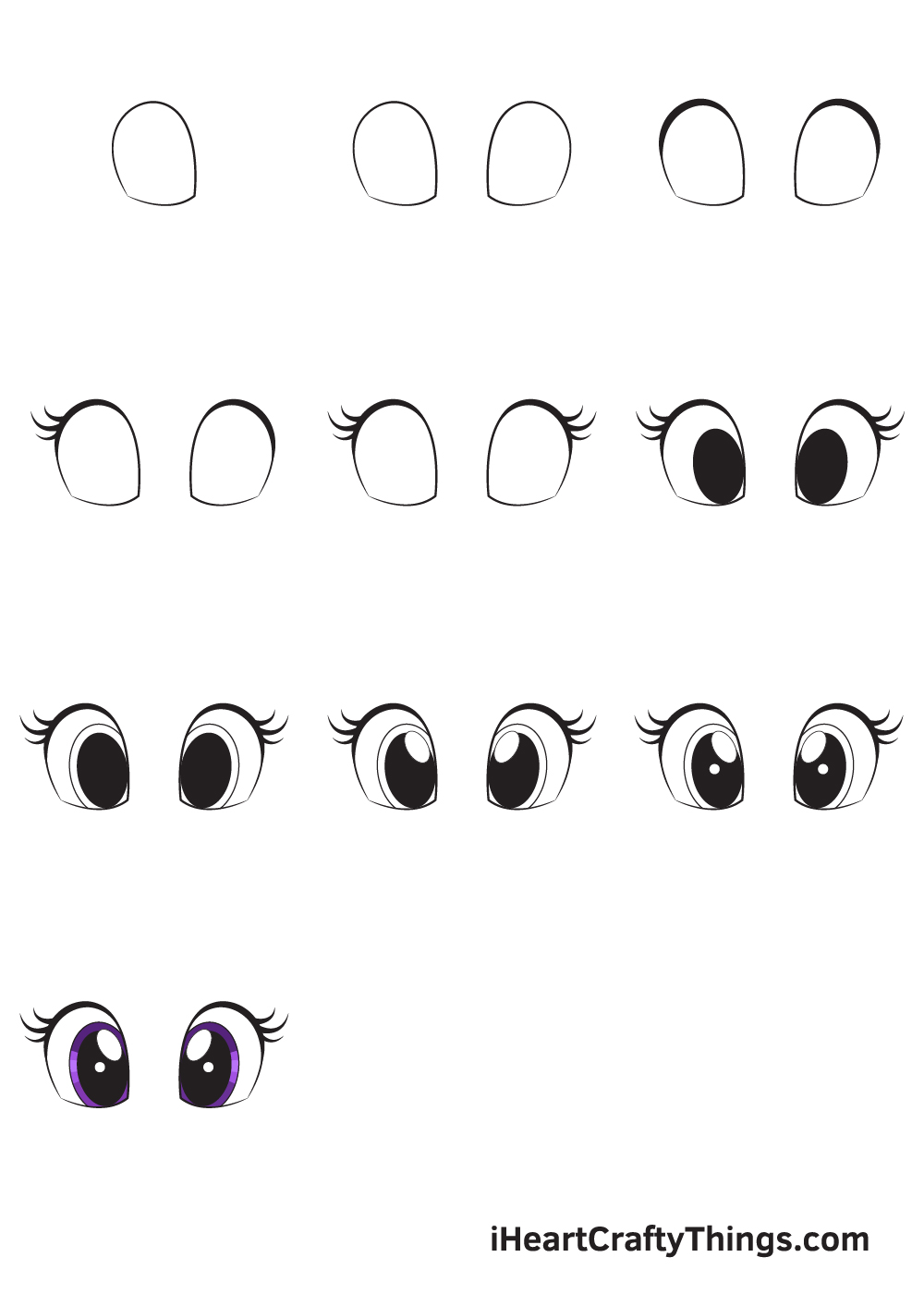 how to draw cute eyes in 9 steps