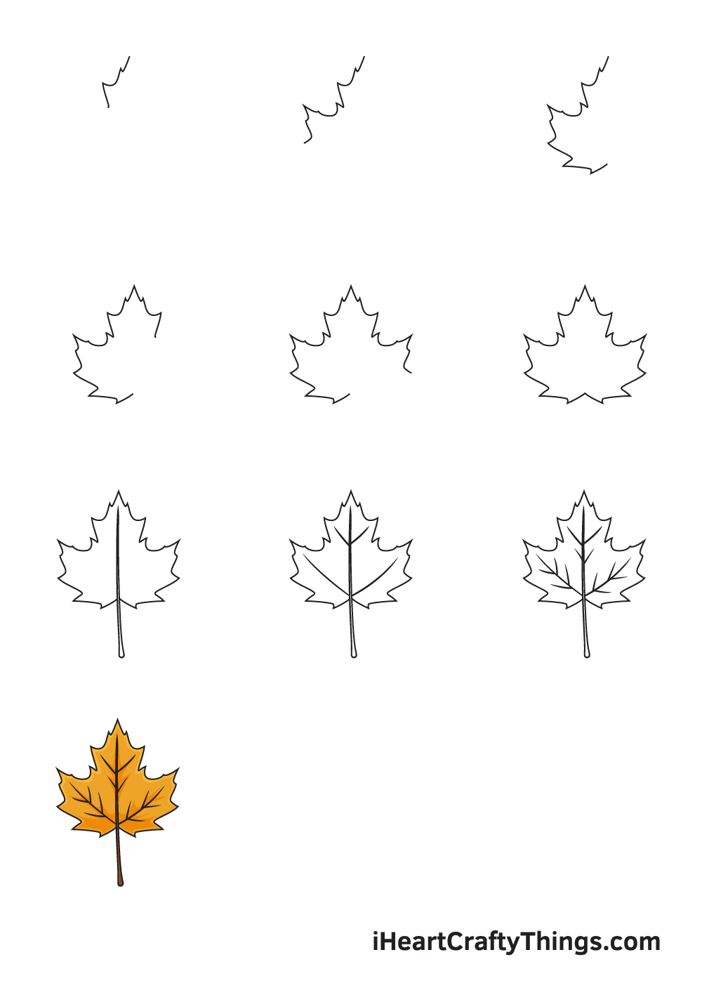 how to draw fall leaves in 9 steps
