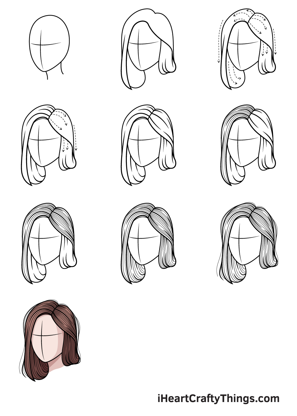 how to draw realistic hair in 9 steps