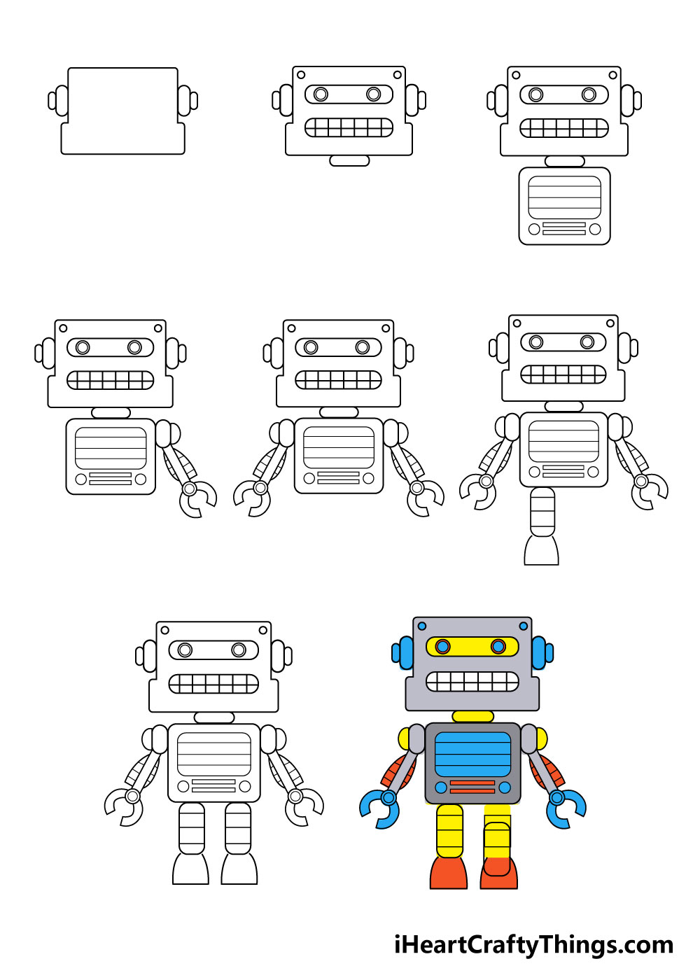 how to draw robot in 8 steps