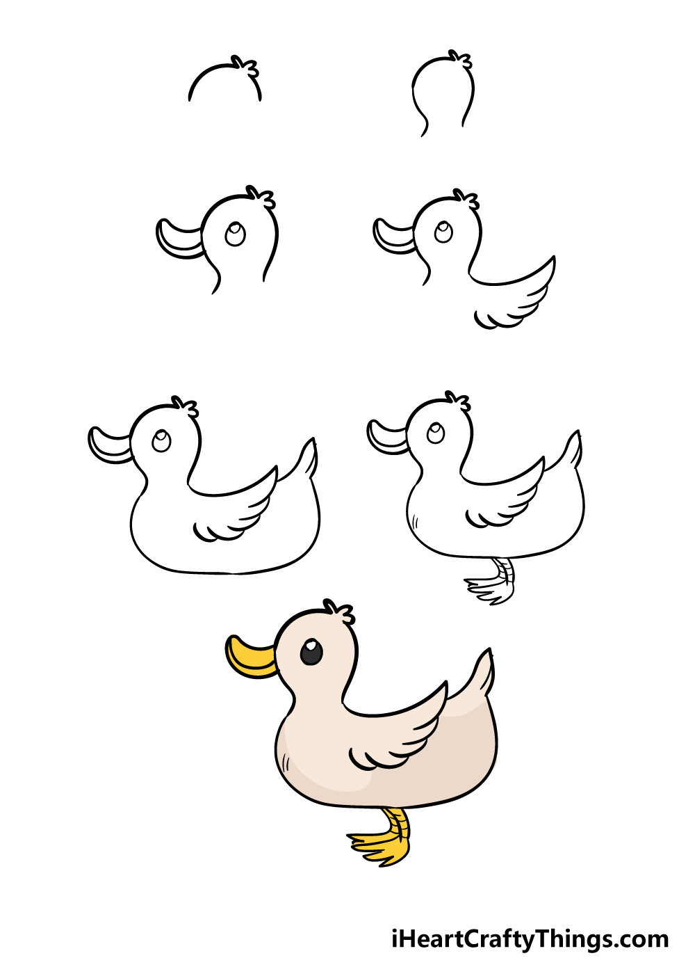 how to draw duck in 7 steps
