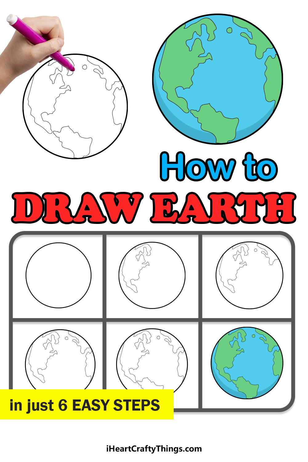 how to draw earth in 6 easy steps